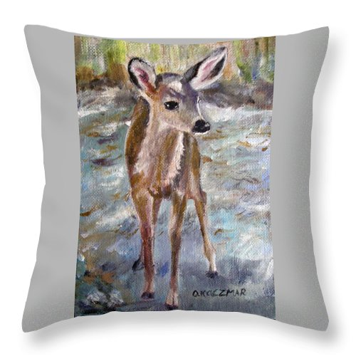 Fawn Throw Pillow featuring the painting Fawn by Olga Kaczmar