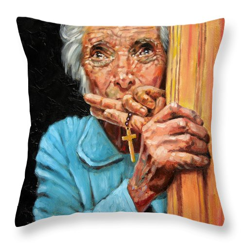 Old Woman Throw Pillow featuring the painting Fear And Faith by John Lautermilch