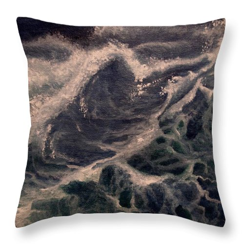 Waves Throw Pillow featuring the painting Fear by Glory Fraulein Wolfe