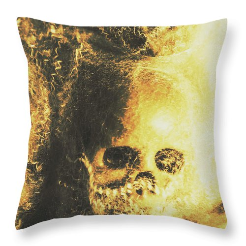Skull Throw Pillow featuring the photograph Fear Of The Capture by Jorgo Photography - Wall Art Gallery