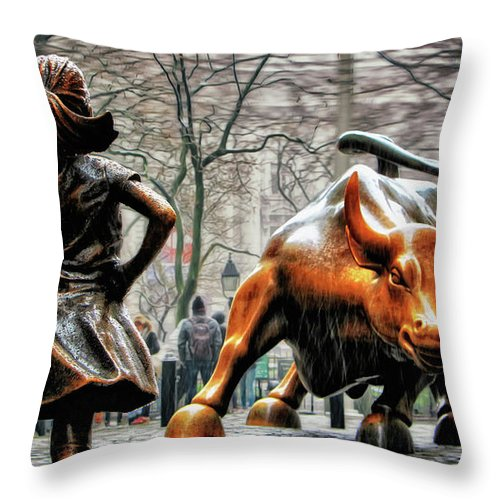 Fearless Girl Statue Throw Pillow featuring the photograph Fearless Girl and Wall Street Bull Statues by Nishanth Gopinathan