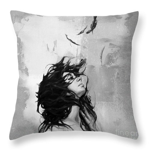 Figurative Throw Pillow featuring the painting Feathers From Hair by Gull G