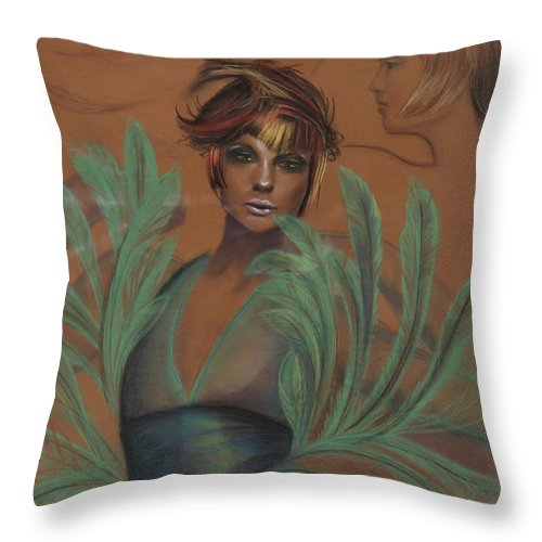 Feather Throw Pillow featuring the drawing Feathers by Maryn Crawford