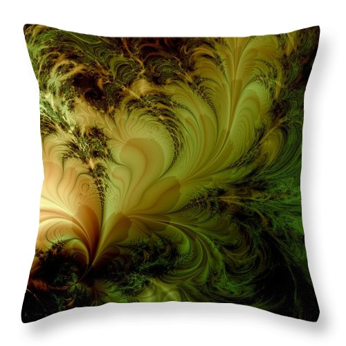 Feather Throw Pillow featuring the digital art Feathery Fantasy by Casey Kotas