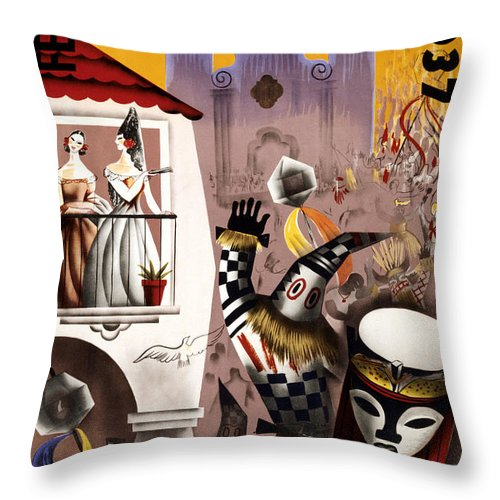 Vintage Throw Pillow featuring the painting February Fiestas In Havana Vintage Poster by Vintage Treasure