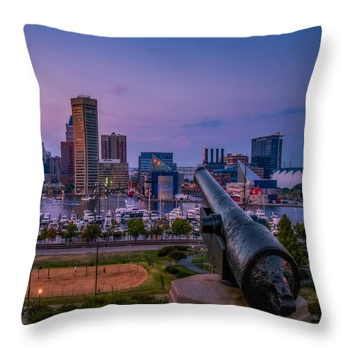 Baltimore Throw Pillow featuring the photograph Federal Hill In Baltimore Maryland by Susan Candelario