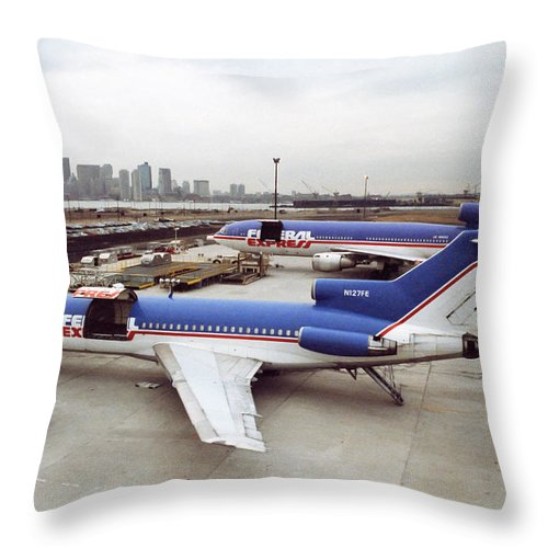 Fedex Throw Pillow featuring the photograph Fedex Ramp Boston 1985 by Michelle Constantine