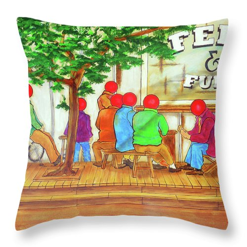 Feed Throw Pillow featuring the painting Feed And Fuel by Bobby Jones