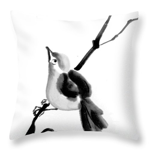 Bird Throw Pillow featuring the painting Feed Me... Feed Me by Ellen Miffitt