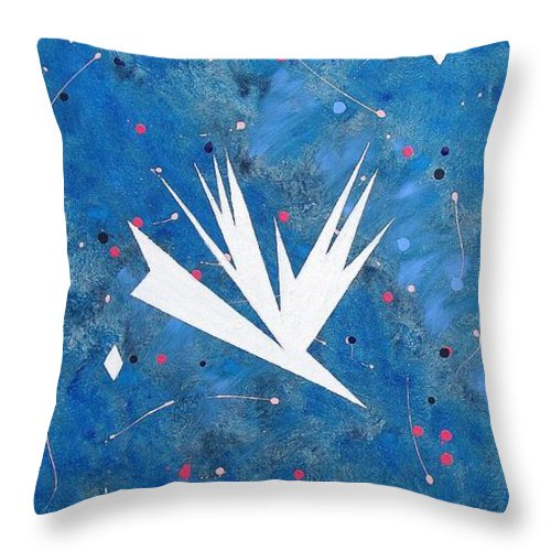 Birds And Diamond Stars Throw Pillow featuring the painting Feeding Frenzy by J R Seymour