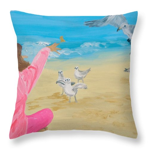 Birds Throw Pillow featuring the painting Feeding The Birds by Michael Lee