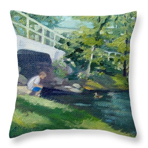 Pond At Bradford College Throw Pillow featuring the painting Feeding The Ducks by Leslie Alfred McGrath