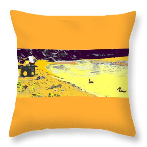 St Kitts Throw Pillow featuring the photograph Feeding The Pelicans by Ian MacDonald