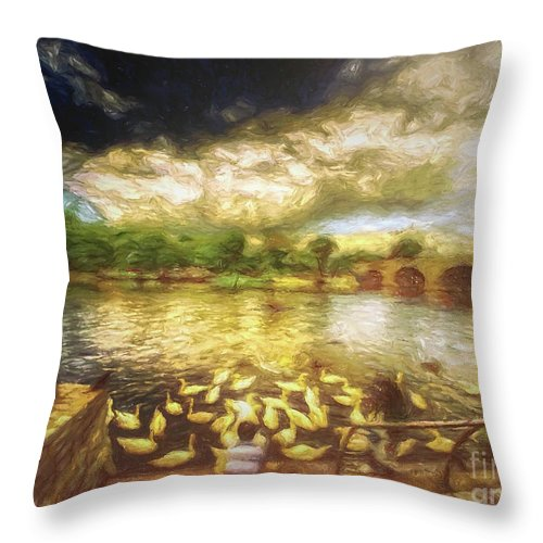 Throw Pillow featuring the digital art Feeding The Swans by Leigh Kemp