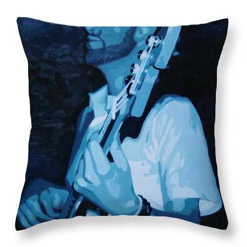 Musician Throw Pillow featuring the painting Feelin' The Bass by Guenevere Schwien