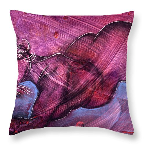 Nude Throw Pillow featuring the painting Feeling Sensuous by Richard Hoedl
