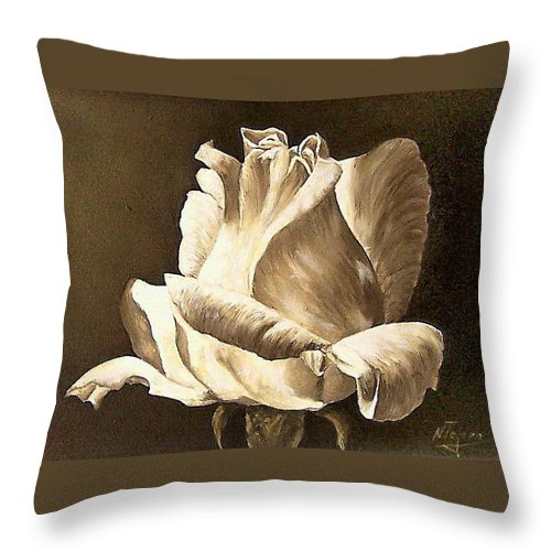 Rose Flower Throw Pillow featuring the painting Feeling The Light by Natalia Tejera