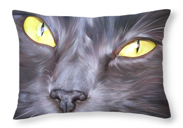 Cat Throw Pillow featuring the painting Feline Face 1 by Elena Kolotusha