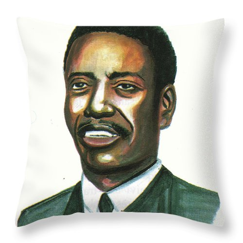 Portraits Throw Pillow featuring the painting Felix Roland Moumie by Emmanuel Baliyanga
