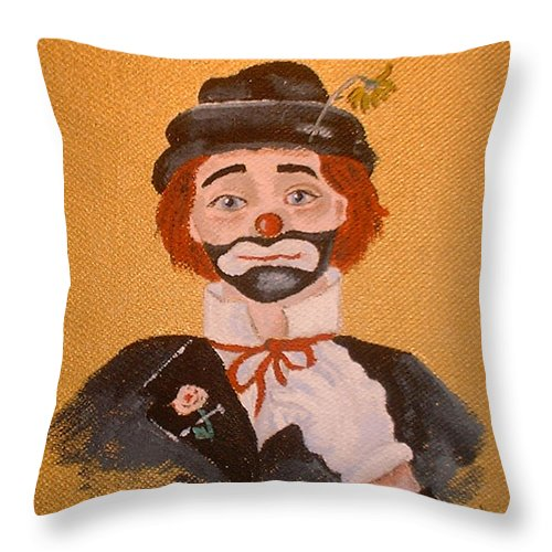 Felix The Clown Throw Pillow featuring the painting Felix The Clown by Arlene Wright-Correll