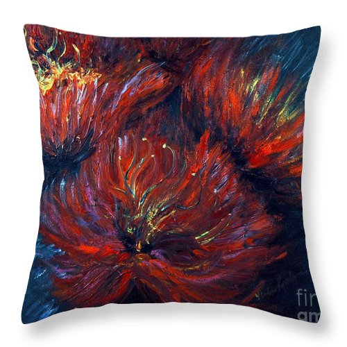 Abstract Throw Pillow featuring the painting Fellowship by Nadine Rippelmeyer