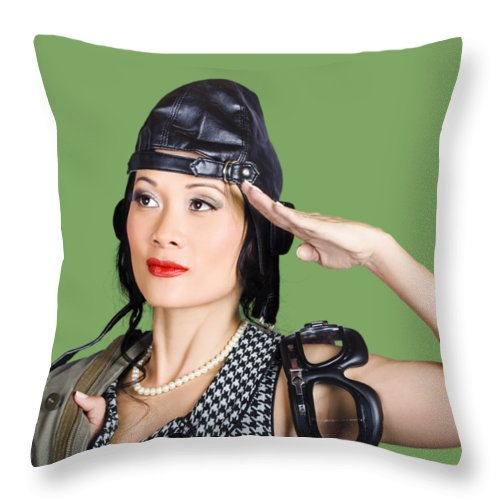 Pilot Throw Pillow featuring the photograph Female Aviation Lady Saluting In Pin-up Class by Jorgo Photography - Wall Art Gallery
