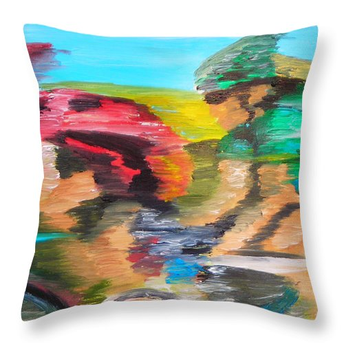 Cycling Throw Pillow featuring the painting Female Cyclist by Michael Lee