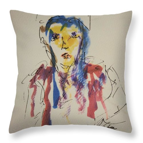Portrait Throw Pillow featuring the painting Female Face Study K by Edward Wolverton