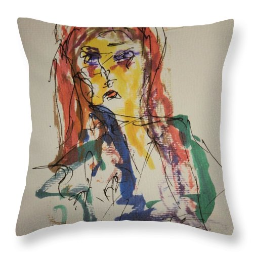 Portrait Throw Pillow featuring the painting Female Face Study V by Edward Wolverton