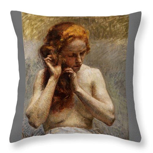 Vlaho Bukovac Throw Pillow featuring the painting Female Nude with Red Hair by Vlaho Bukovac