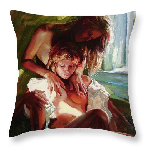 Ignatenko Throw Pillow featuring the painting Female secrets by Sergey Ignatenko