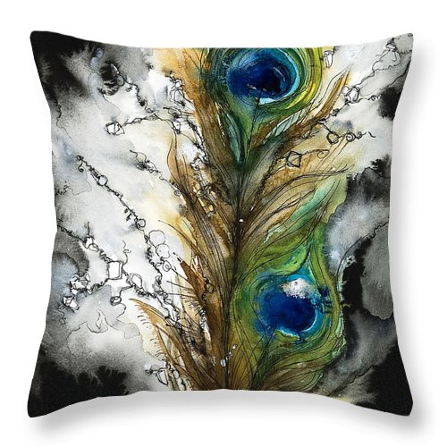 Abstract Throw Pillow featuring the painting Female by Tara Thelen - Printscapes