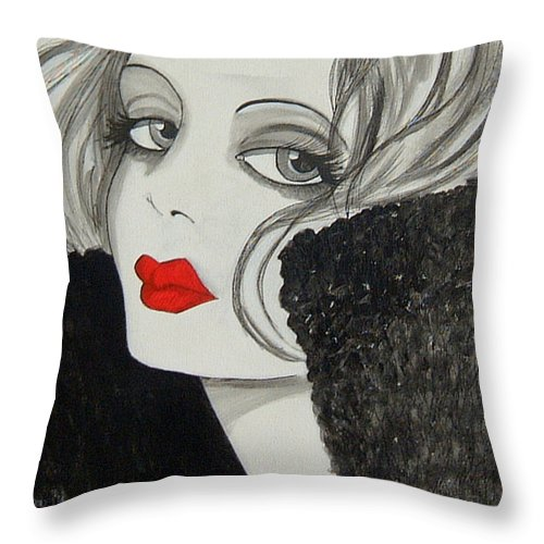 Cinema Throw Pillow featuring the painting Femme Fatale by Rosie Harper
