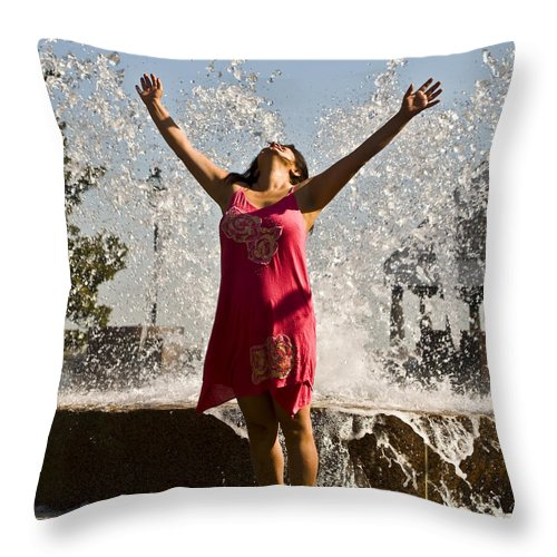 Femme Throw Pillow featuring the photograph Femme Fountain by Al Powell Photography USA
