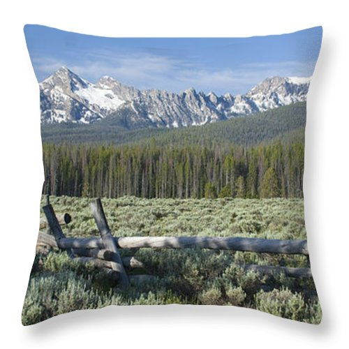 Sawtooth Mountains Throw Pillow featuring the photograph Fence And The Sawtooths by Idaho Scenic Images Linda Lantzy