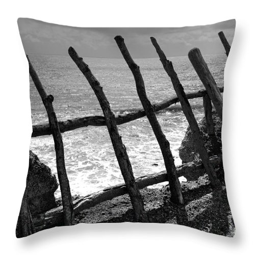 Atlantic Ocean Throw Pillow featuring the photograph Fence by Gaspar Avila