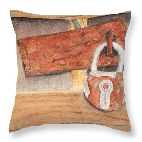 Fence Throw Pillow featuring the painting Fence Lock by Ken Powers