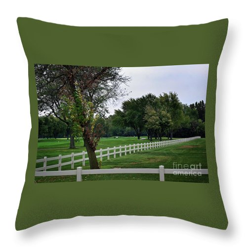 Frank J Casella Throw Pillow featuring the photograph Fence On The Wooded Green by Frank J Casella