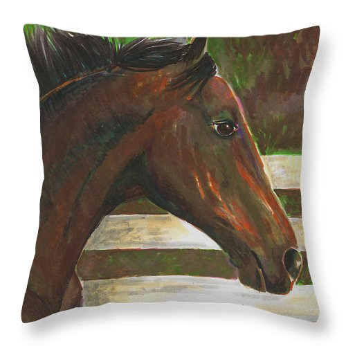Horse Throw Pillow featuring the painting Fenced In by Arline Wagner