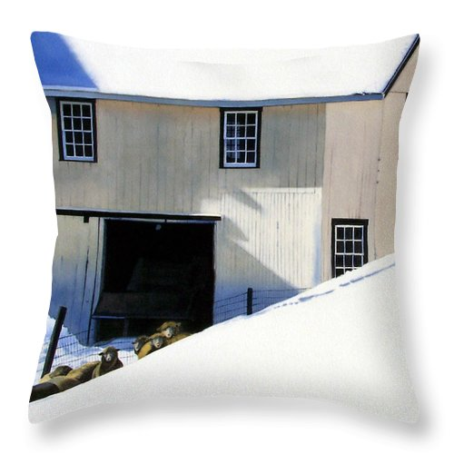 Barn Throw Pillow featuring the painting Fenced In by Denny Bond