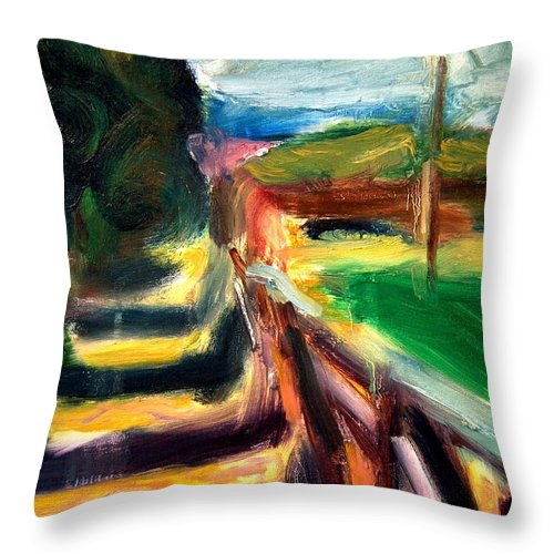 Dornberg Throw Pillow featuring the painting Fenced Parcels by Bob Dornberg