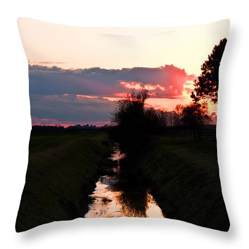Fenland Throw Pillow featuring the photograph Fenland Sunset by Stephen Elsworth