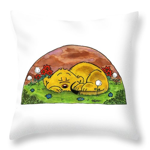 Ferald Throw Pillow featuring the painting Ferald Sleeping by Keith Williams