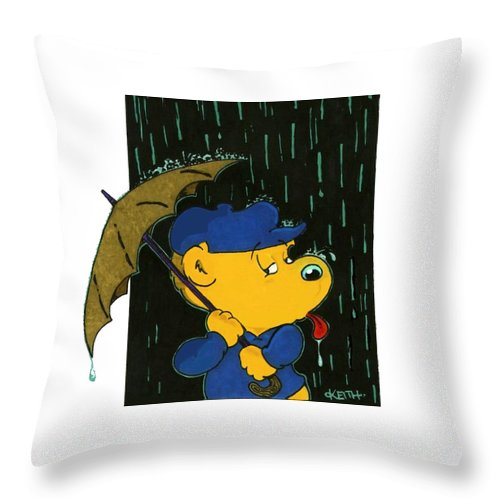 Ferald Throw Pillow featuring the painting Ferald's Taste Of Rain by Keith Williams