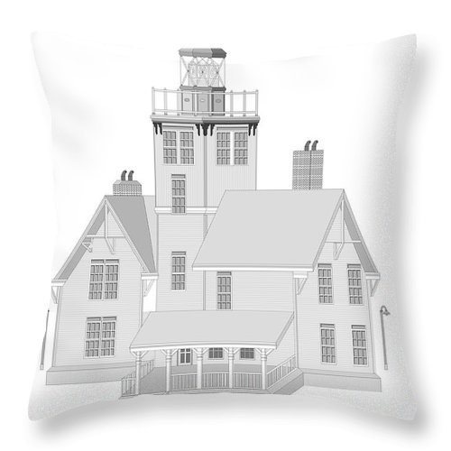Lighthouse Throw Pillow featuring the painting Fermin Model Architectural Drawing by Anne Norskog