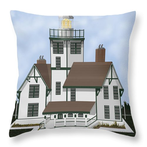 Lighthouse Throw Pillow featuring the painting Fermin Model Landscaped by Anne Norskog