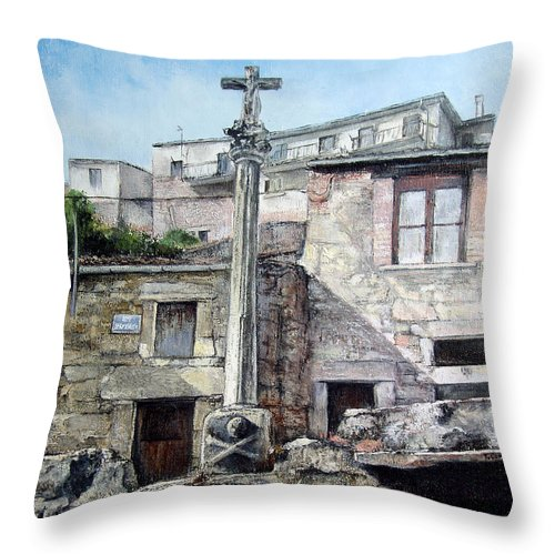 Fermoselle Throw Pillow featuring the painting Fermoselle.-crucero by Tomas Castano