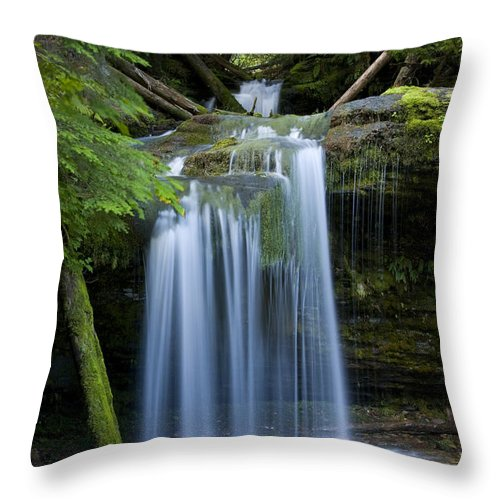 Waterfalls Throw Pillow featuring the photograph Fern Falls by Idaho Scenic Images Linda Lantzy