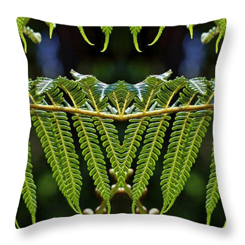 Lush Green Throw Pillow featuring the photograph Fern Panorama by Daniel Unfried