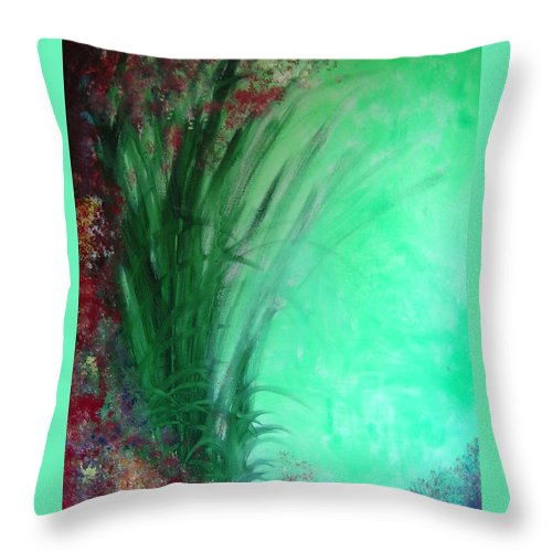 Green Ferns Throw Pillow featuring the painting Ferns by Lizzy Forrester
